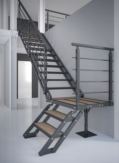 Escalier contemporain avec structure et profil 100 aluminium - black ou silver mat - marche VALCHROMAT, chêne ou verre. Modern Stair Railing, Staircase Handrail, Stair Railing Design, Modern Stairs, Steel Stairs, Wood Stairs, House Stairs, Metal Garage Buildings, Steel Structure Buildings