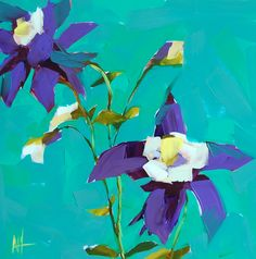 Hey, I found this really awesome Etsy listing at https://www.etsy.com/listing/188583250/purple-columbine-flowers-original-floral