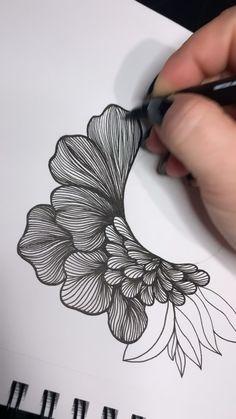 Flower Line Drawings, Flower Drawing Tutorials, Pencil Art Drawings, Art Tutorials, Mandala Art Lesson, Mandala Drawing, Zentangle Drawings, Zentangles, Tatuagem Pin Up