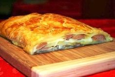 Strudel with potato and sausages