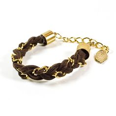 brown suede and gold braid bracelet