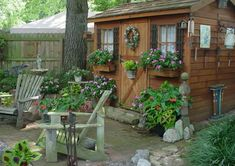 Shed Plans - garden shed hut wendy house room office Now You Can Build ANY Shed In A Weekend Even If You've Zero Woodworking Experience! Diy Garden, Garden Cottage, Garden Art, Home And Garden, Cottage Crafts, Garden Office, Wooden Garden, Backyard Sheds, Outdoor Sheds