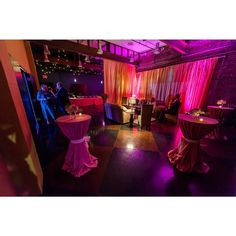 Love the pipe and drape set up at this Photo via Pipe And Drape Backdrop, 1920s Wedding, Event Lighting, Backdrops, Wedding Decorations, Reception, Wedding Inspiration, Purple, Orange