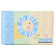 """The Pepperpot Patterned Pals baby brag book features 12 acid-free pages with acetate picture sleeves and holds 24 of your cherished photos. This adorable design features a friendly looking lion with blue mane and yellow polka dotted body upon a gingham patterned background. The brag book is 7"""" x 4 1/2"""" and has a concealed wire-o binding."""