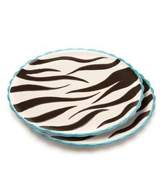Loving this Blue Brulee Swirl Platter - Set of Two on #zulily! #zulilyfinds