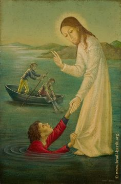 Christ walking on water and rescuing Saint Peter, as painted by a Belgian artist.