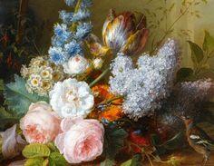 Cornelis van Spaendonck    Flower Bunch with Bird's Nest, detail    1810