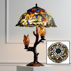 Tiffany Style Dream Catcher with Illuminated Owl Table Lamp at HSN