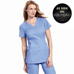 """Longer top from Koi in True Ceil, 26"""" length (size S) 55% cotton/45% polyester soft twill top, Two functioning snap buttons and deep pockets XS-3X £27.50 #dental #uniforms #nurse #female #scrubs #tunics #top #healthcare #koi #Justine #happythreads"""