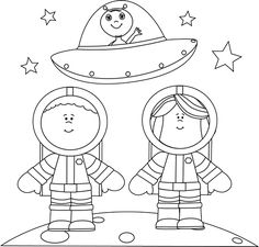 black and white astronauts on moon with ufo space themeouter spacecoloring pagesgalaxyufoclip