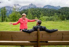 German chancellor  Angela Merkel  speaks with U.S. president  Barack Obama  at  Schloss Elmau hotel near Garmisch-Partenkirchen, southern Germany,  during the G-7 summit. June 8, 2015.