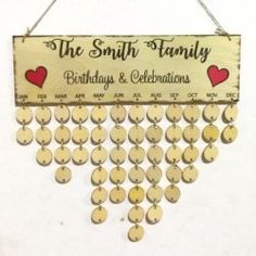 Family Celebrations DIY Wooden Birthday Calendar Reminder Board - ROUND