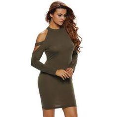 Cold Shoulder Knit Long Sleeve Dress
