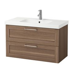 Guest bathroom GODMORGON / ODENSVIK Sink cabinet with 2 drawers - walnut effect, 100x49x64 cm - IKEA