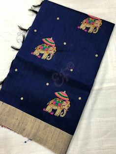 Pure Handloom Jute Silk Sarees With Allover Embroidery Work And Contrast Blouse @5650+$ Order what's app 7093235052