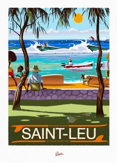 Clavé illustration added a new photo. Poster Surf, Surf Art, Vintage Travel Posters, Retro Posters, Illustrations Posters, Surf Quotes, Beautiful Places, Kelly Slater, Surf Shack