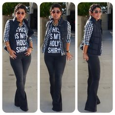 OOTD: It's Black + White #Gap Puffer Vest + #F21 Holy Tee  Details and links @ http://mimigoodwin.blogspot.com/2012/11/ootd-its-black-white.html