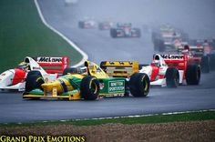 Donington 93' Senna came from 5th on the grid to pass 5 cars on the first lap (including Prost & Schumacher) and gave everyone a lesson in wet weather driving...