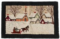 "V127 New Englan hooked Rug, circa 1930's  a lovely  hooked rug, or matt, made of wool on a burlap base It shows a very New England scene of snow covered landscape with a horse pulled sleigh approaching  a Church and Village. Measurements are: 26 1/2"" wide x 17 1/2"" tall"