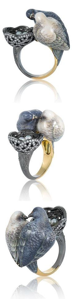 Gold, pearl and enamel Doves ring, by Ilgiz F.