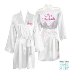 Personalized Knee Length Satin Bridal Robe With Name On Front And Back Bride Customized Mrs