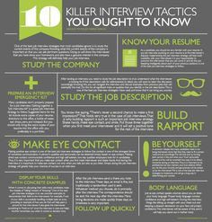 infographic 10 Killer Interview Tactics You Ought to Know Job interviews can be a mystery. Image Description 10 Killer Interview Tactics You Ought to Interview Skills, Job Interview Tips, Job Interview Questions, Job Interviews, Preparing For An Interview, Interview Tips Weaknesses, Interview Nerves, Job Interview Preparation, Interview Techniques