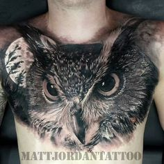 Killer owl chest piece tattoo by @mattjordantattoo