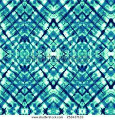 Seamless tie dye pattern. Checks and diagonal stripes, traditional textile technique