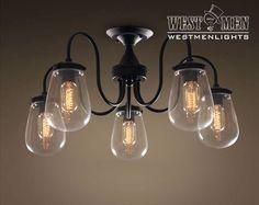 Westmenlights Bedroom Modern Ceiling Lights Glass Globe 5 Lights Ceiling Lamp GUREL