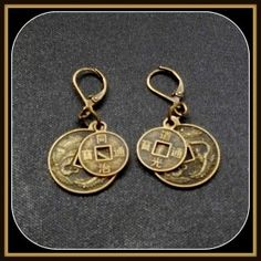 bronze replica Chinese coin earrings