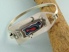 Sterling Silver and Fordite OneofaKind Bracelet.  by ZaZing, $240.00