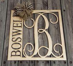 """20"""" Wooden Monogram Door Hanger - Family Monogram - Wedding Gift - Housewarming…"""