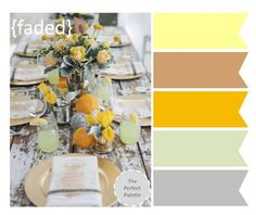 {The Perfect Palette}: Shades of Yellow, Brown and Gray http://www.theperfectpalette.com/2012/11/the-perfect-palette-3-wedding-tabletops.html