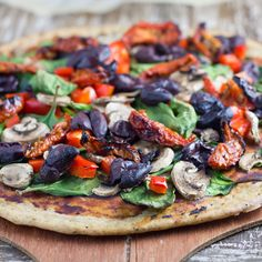 Gluten-Free Buckwheat Pizza. Probably won't use the crust but the combination of toppings sounds delish!