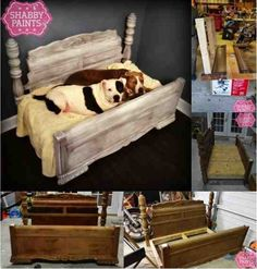DIY Bed Frame Upcycled to Gorgeous Pet Bed ................FOLLOW DIY Fun Ideas for more great ideas!