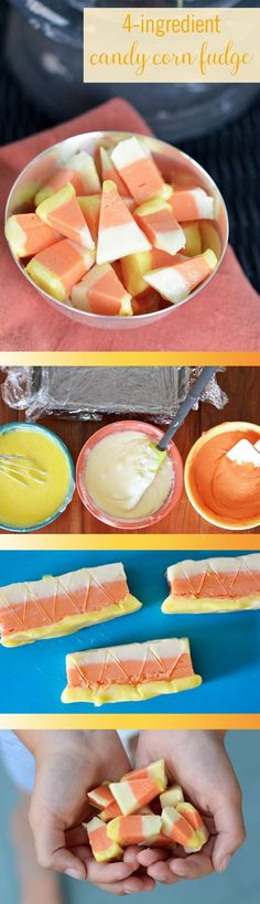 If you're looking for an easy, no-fail Halloween treat, this is the perfect dessert recipe for you. This delicious Candy Corn Fudge requires just 4 ingredients and no advanced decorating skills. Condensed milk, white chocolate, and food coloring are all you need to make everyone smile this fall.: