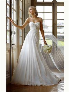 Elegant White A Line Sweetheart Chiffon 2013 Wedding Dresses