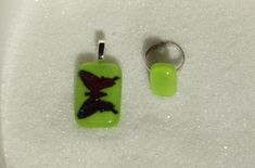 Fused glass Jewelry set, Green Jewelry: ring, pendant - Handmade