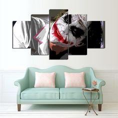 The Joker 5 Panel Canvas Wall Art Print Canvas Frame, Canvas Wall Art, Wall Art Prints, Framed Prints, Canvas Prints, Love Seat, Joker, Couch, Throw Pillows