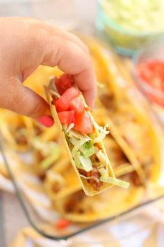 Taco anything is my favorite! These Oven Baked Beef Tacos are simple to make and make the perfect recipe for feeding a crowd! Oven Baked Tacos, Baked Tacos Recipe, Retro Recipes, Mexican Food Recipes, Mexican Dishes, Mexican Meals, Taco Meal, Ground Beef Recipes For Dinner, Taco Dinner