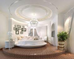 Elegant round bedroom design round bed crystal chandelier white bedroom interior