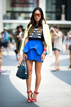 Aimee Song wears a Finders Keepers skirt, Celine shoes, and Westward Leaning sunglasses #streetstyle
