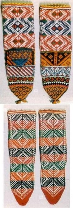 Traditional hand-knitted bridal socks.  From the district of Sivrihisar (90 km east of Eskişehir).  Wool,  mid-20th century.  The main pattern is called 'Bride's cheeks'.