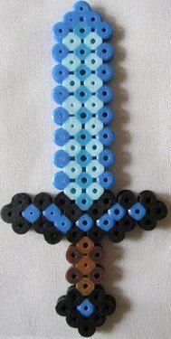 Minecraft diamond sword handmade in perler beads by PerlPop