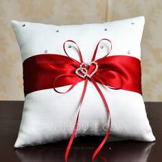 Elegant Ring Pillow in Satin With Ribbons/Rhinestones Glam Pillows, Ring Pillows, Throw Pillows, Wedding Pillows, Ring Pillow Wedding, Cushion Covers, Pillow Covers, Christmas Crafts, Christmas Decorations