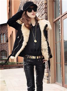 Charming European Style Thicken Pur Color Zipper Overcoat