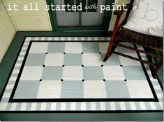 DIY: painted porch rug. I think it would be neat to paint patio pavers and arrange them so they look like a rug.