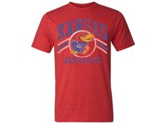 Kansas Jayhawks Team Stripes Distress Triblend Tee - Red Heather