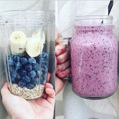 Healthy lifestyle, fitness, work out Fruit Smoothie Recipes, Easy Smoothies, Smoothie Drinks, Strawberry Banana Smoothie, Smoothie Bowl, Chocolate Protein Smoothie, Banana Oatmeal Smoothie, Coconut Milk Smoothie, Parfait Recipes
