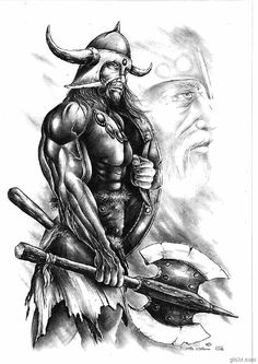 viking-warrior-tattoo-sketch.gif (450×636)